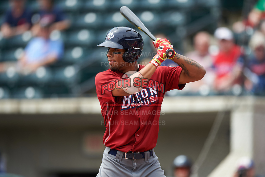 Lehigh Valley IronPigs outfielder Nick Williams (19) at bat during a game against the Columbus Clippers on May 12, 2016 at Huntington Park in Columbus, Ohio.  Lehigh Valley defeated Columbus 2-1.  (Mike Janes/Four Seam Images)
