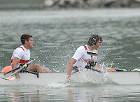 Ottensheim, AUSTRIA.  A  Final,  GER JM4X, gold medallist,  Bow, Lukas LINDEN, , Fabian WEILER, Hurbet TRZYBINSKI and Sebastian MAGER, at the 2008 FISA Senior and Junior Rowing Championships,  Linz/Ottensheim. Saturday,  26/07/2008.  [Mandatory Credit: Peter SPURRIER, Intersport Images] Rowing Course: Linz/ Ottensheim, Austria