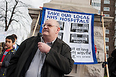 Phil Rose, Unite Regional Officer.  Health workers, patients, local residents and trade unions take part in a Save Lewisham Hospital Campaign rally outside the hospital to protest at proposed closure of A&E and maternity services.