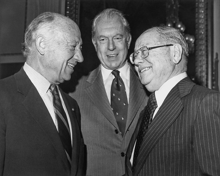 Sen. Jacob K. Javits, R-N.Y., Sen. Carl Curtis, R-Nebr. and Sen. Robert Stafford, R-Vt. in 1975. (Photo by CQ Roll Call)