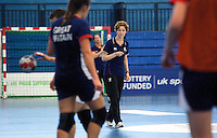 06 APR 2012 - LONDON, GBR - Great Britain's assistant coach Vigdis Holmeset watches her players during a team training session at the National Sports Centre in Crystal Palace, Great Britain .(PHOTO (C) 2012 NIGEL FARROW)