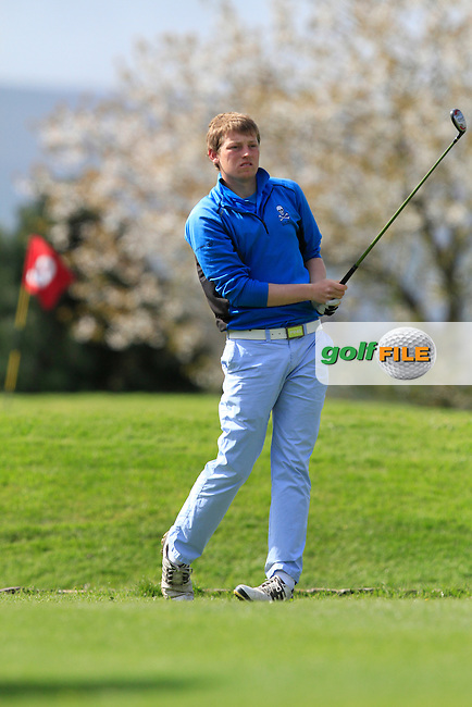 Ben Murray (Waterford Castle) on the 1st tee during day 1 of The Munster Youths' Amateur Open Championship in Dungarvan Golf Club on Wednesday 23nd April 2014.<br /> Picture:  Thos Caffrey / www.golffile.ie