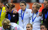 Amy Rodriguez (r) and Carli Lloyd of team USA react during the FIFA Women's World Cup Final USA against Japan at the FIFA Stadium in Frankfurt, Germany on July 17th, 2011.