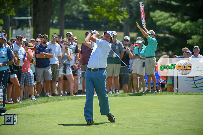 Phil Mickelson (USA) watches his tee shot on 8 during 3rd round of the World Golf Championships - Bridgestone Invitational, at the Firestone Country Club, Akron, Ohio. 8/4/2018.<br /> Picture: Golffile   Ken Murray<br /> <br /> <br /> All photo usage must carry mandatory copyright credit (© Golffile   Ken Murray)