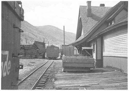 View looking south down the depot's east (rear) siding as seen from the depot loading dock.<br /> RGS  Rico, CO  Taken by Swerdfeger, Mark - 7/1947