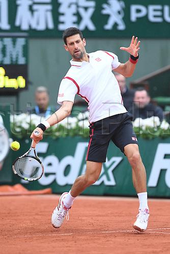31.05.2016. Roland Garros, Paris, France. French Open tennis tournament. Serbian Novak Djokovic during his rain delayed match against Roberto Bautista Agut