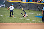 30 MAY 2016: Shannon Denny (8) of Messiah College dives for a foul ball against University of Texas-Tyler during the Division III Women's Softball Championship held at the James I Moyer Sports Complex in Salem, VA.  Texas-Tyler defeated Messiah 7-0 for the national title.  Don Petersen/NCAA Photos