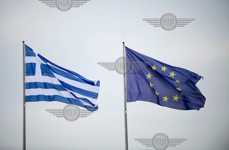 The Greek flag and European Union flag at a state visit of Greek Prime Minister Antonis Samaras.