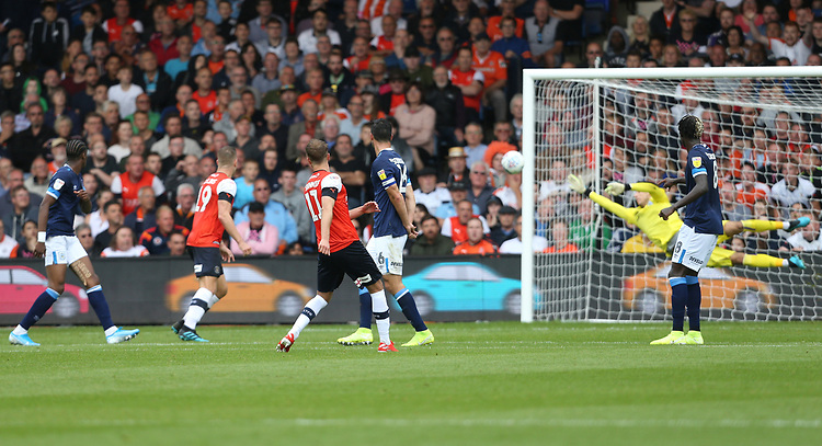 Luton Town's Andrew Shinnie scores his side's second goal <br /> <br /> Photographer Rob Newell/CameraSport<br /> <br /> The EFL Sky Bet Championship - Luton Town v Huddersfield Town - Saturday 31 August 2019 - Kenilworth Stadium - Luton<br /> <br /> World Copyright © 2019 CameraSport. All rights reserved. 43 Linden Ave. Countesthorpe. Leicester. England. LE8 5PG - Tel: +44 (0) 116 277 4147 - admin@camerasport.com - www.camerasport.com
