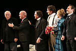 Playwright Bernard Pomerance, Director Scott Ellis, Anthony Heald, Bradley Cooper, Patricia Clarkson and Alessandro Nivola  during the Broadway Opening Night Performance Curtain Call for 'The Elephant Man' at the Booth  Theatre on December 7, 2014 in New York City.