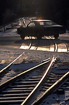 Car commuter train level crossing Dover New Jersey America USA  1982 1980s US