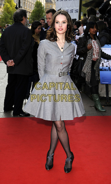 "FELICITY JONES.World Premiere of ""Flashbacks of a Fool"" at the Empire, Leicester Square, London, England..April 13th 2008.full length grey gray dress belt black shoes.CAP/CAN.©Can Nguyen/Capital Pictures"