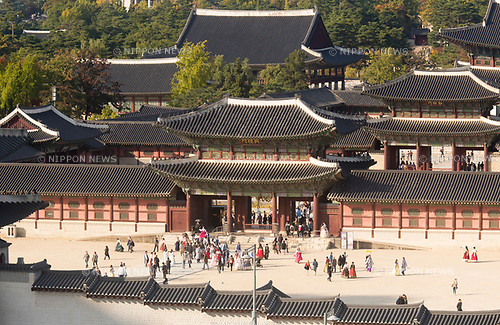 Gyeongbokgung Palace, Oct 23, 2017 : Gyeongbokgung Palace is seen in Seoul, South Korea. The palace also known as Gyeongbokgung or Gyeongbok Palace, was built in 1395 and was the main royal palace of the Joseon dynasty (1392 - 1910). (Photo by Lee Jae-Won/AFLO) (SOUTH KOREA)