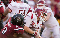 Hawgs Illustrated/BEN GOFF <br /> D.J. Wonnum (8), South Carolina defensive end, tackles Austin Allen, Arkansas quarteraback, in the second quarter Saturday, Oct. 7, 2017, at Williams-Brice Stadium in Columbia, S.C.