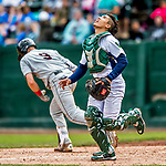 25 July 2017: Vermont Lake Monsters catcher Iolana Akau tracks an infield pop-up in the 4th inning against the Tri-City ValleyCats at Centennial Field in Burlington, Vermont. The Lake Monsters defeated the ValleyCats 11-3 in NY Penn League action. Mandatory Credit: Ed Wolfstein Photo *** RAW (NEF) Image File Available ***