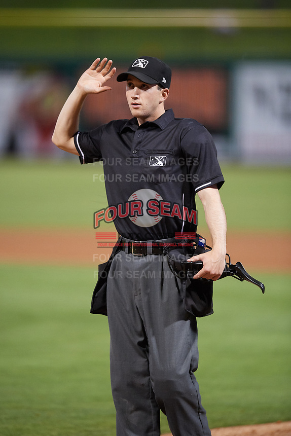 Home plate umpire Tanner Dobson during a game between the Jupiter Hammerheads and the Clearwater Threshers on April 12, 2018 at Spectrum Field in Clearwater, Florida.  Jupiter defeated Clearwater 8-4.  (Mike Janes/Four Seam Images)