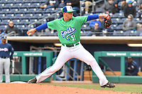 Logan Cozart (51) of the Hartford Yard Goats delivers a pitch during a game against the New Hampshire Fisher Cats at Dunkin Donuts Park on April 8, 2018 in Hartford, Connecticut.<br /> (Gregory Vasil/Four Seam Images)