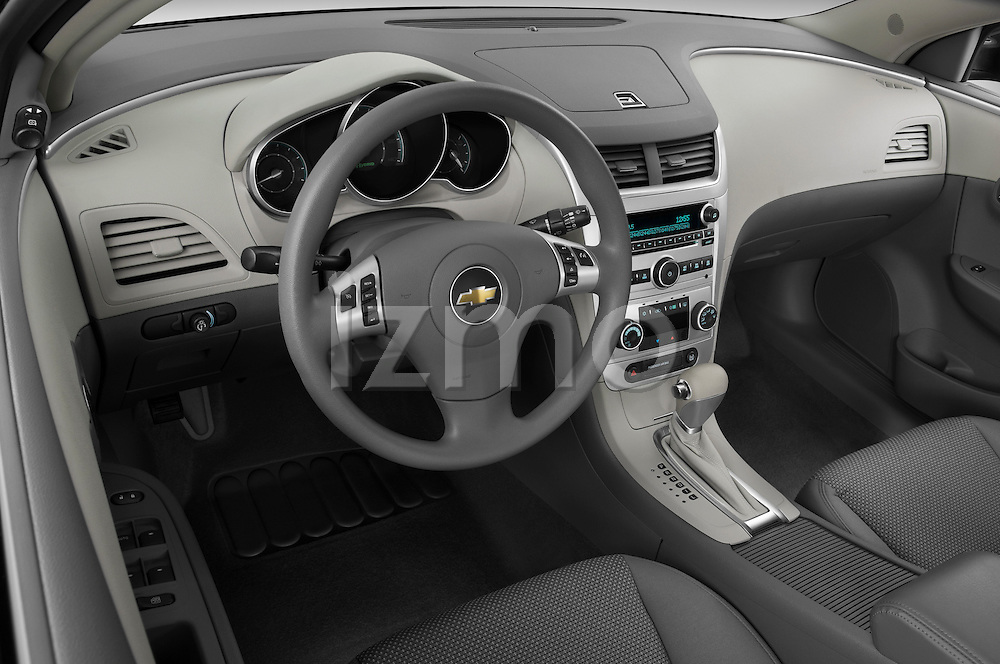 High angle dashboard view of a 2009 Chevrolet Malibu Hybrid