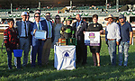"October 05, 2019 : #5 Bowies Hero and jockey Flavien Prat win the 34th running of The Shadwell Turf Mile Grade 1 $1,000,000 ""Win and You're In Breeders' Cup Mile Division"" for owner Agave Racing Stable, ERJ Racing LLC, Madaket Stables and trainer Philip D'Amato at Keeneland Racecourse in Lexington, KY on October 04, 2019.  Candice Chavez/ESW/CSM"
