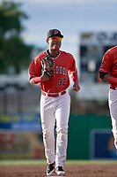 Batavia Muckdogs center fielder Ricardo Cespedes (32) jogs back to the dugout during a game against the West Virginia Black Bears on June 19, 2018 at Dwyer Stadium in Batavia, New York.  West Virginia defeated Batavia 7-6.  (Mike Janes/Four Seam Images)