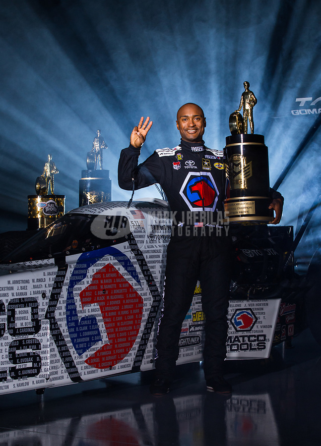 Jan 12, 2017; Brownsburg, IN, USA; NHRA top fuel driver Antron Brown poses for a portrait during a photo shoot at Don Schumacher Racing. Mandatory Credit: Mark J. Rebilas-USA TODAY Sports