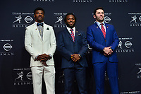 New York, NY - December 9, 2017: The 2017 Heisman Trophy finalists attend a media conference at the New York Marriott Marquis in New York City December 9, 2017. (L-R) Lamar Jackson (Louisville), Bryce Love (Stanford), Baker Mayfileld (Oklahoma).   (Photo by Don Baxter/Media Images International)