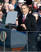 Washington, DC - January 20, 2009 -- United States President Barack Obama delivers his Inaugural Address after taking the oath of office as the 44th President of the United States in Washington, DC, USA, 20 January 2009. Obama defeated Republican candidate John McCain on Election Day 04 November 2008 to become the next U.S. President.Credit: Matthew Barrick - CNP