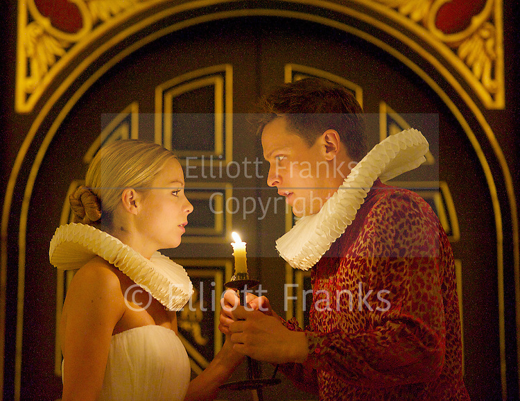 'Tis Pity She's a Whore<br /> by John Ford<br /> at the Sam Wannamaker Playhouse, Globe Theatre, London, Great Britain <br /> press photocall<br /> 25th October 2014 <br /> directed by Michael Longhurst <br /> <br /> <br /> <br /> Max Bennett as Giovanni <br /> Fiona Button as Annabella<br /> <br /> <br /> <br /> Photograph by Elliott Franks <br /> Image licensed to Elliott Franks Photography Services