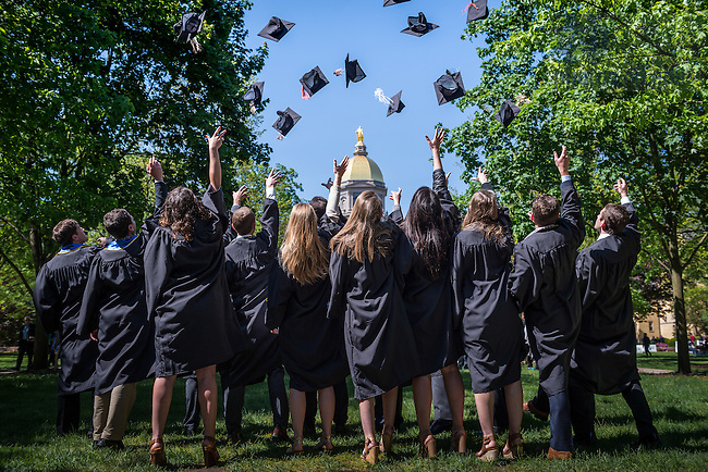 May 15, 2016; Graduates toss their caps in the air on Main Quad, Commencement 2016. (Photo by Matt Cashore/University of Notre Dame)