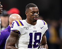 ATLANTA, GA - DECEMBER 7: K'Lavon Chaisson #18 of the LSU Tigers during a game between Georgia Bulldogs and LSU Tigers at Mercedes Benz Stadium on December 7, 2019 in Atlanta, Georgia.