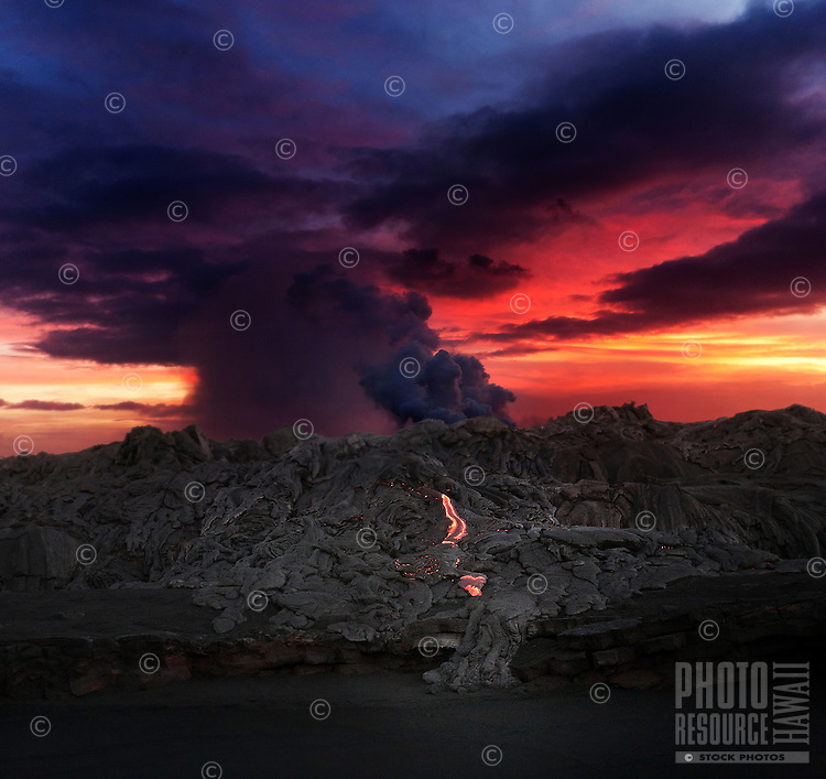 Lava fromthe Big Island's billowing Kilauea volcanoreaching the Pacific Ocean.