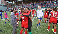 Portland, Oregon - Sunday September 4, 2016: Portland Thorns FC goalkeeper Adrianna Franch (24) and Portland Thorns FC forward Nadia Nadim (9) after the win during a regular season National Women's Soccer League (NWSL) match at Providence Park.