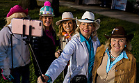 LOUISVILLE, KENTUCKY - May 02: Fans takea group selifie on the backstretch during Kentucky Derby and Oaks preparations at Churchill Downs on April 30, 2017 in Louisville, Kentucky. (Photo by Scott Serio/Eclipse Sportswire/Getty Images)