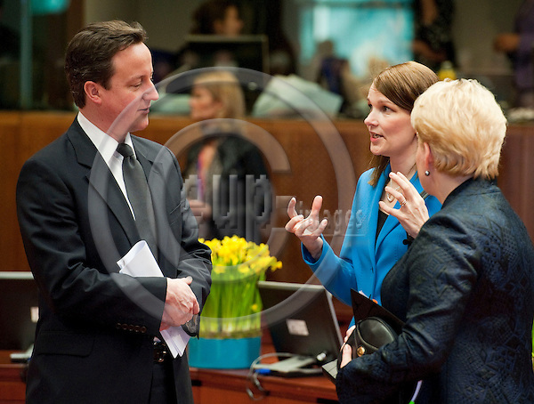 Brussels-Belgium - March 25, 2011 -- 2nd day of the European Council, EU-summit with Heads of State / Government; here, David CAMERON (le), Prime Minister of the United Kingdom, with Mari KIVINIEMI (ce), Prime Minister of Finland, and Dalia GRYBAUSKAITE (ri), President of Lithuania -- Photo: Horst Wagner / eup-images