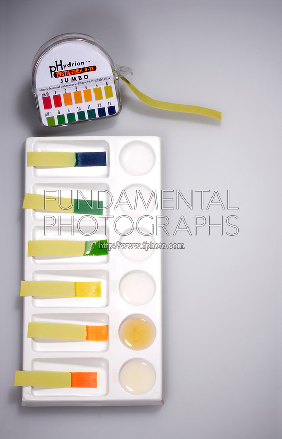 INDICATOR STRIPS TEST pH  OF COMMON SUBSTANCES<br /> Paper Is Treated With pH Indicators<br /> Each strip is immersed in a household substance & compared to the standard color chart.  Here a range of 2-11 is shown.  Lemon juice shows a pH of 2, cider vinegar 3-4, distilled water 6, calgon 8, baking soda 9 & ammonia 11.