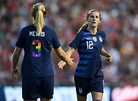Sandy, Utah - Thursday June 07, 2018: Samantha Mewis, Tierna Davidson during an international friendly match between the women's national teams of the United States (USA) and China PR (CHN) at Rio Tinto Stadium.