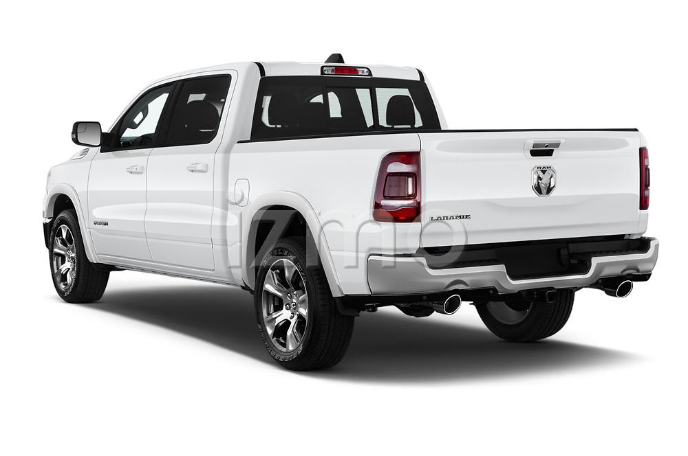 Car pictures of rear three quarter view of a 2019 Ram 1500 Crew Cab Laramie Short Box 4x2 4 Door Pick Up angular rear