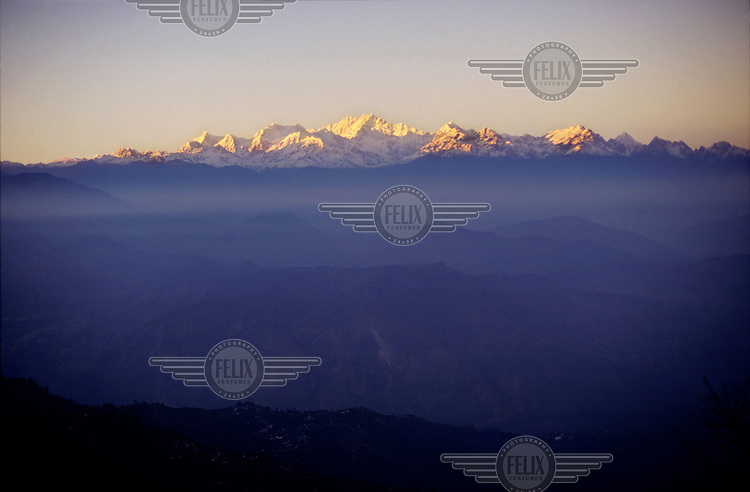 Kangchenjunga, at 8,586 metres, the third highest mountain in the world, seen from West Bengal in India.