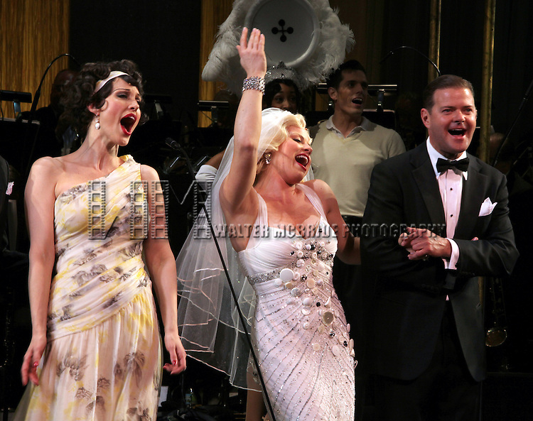 Rachel York, Megan Hilty, Clarke Thorell.during the final performance Curtain Call for the New York City Center ENCORES! Production of 'Gentlemen Prefers Blondes' at City Center in New York City on 5/13/2012.
