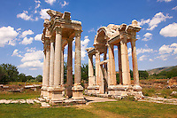 "Picture of the double Tetrapylon Gate, Aphrodisias, Turkey. A tetrapylon (Greek: Τετράπυλον, ""four gates"") is an ancient type of Roman monument of cubic shape, with a gate on each of the four sides: generally it was built on a crossroads. stock photos & photo art prints. 4"
