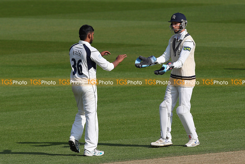 Ravi Patel of Middlesex is congratulated by John Simpson on taking the wicket of Tom Curran during Surrey CCC vs Middlesex CCC, Friendly Match Cricket at the Kia Oval on 22nd March 2016