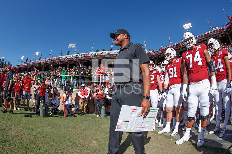 STANFORD, CA - SEPTEMBER 21: Head coach David Shaw of the Stanford Cardinal prepares to take the field during a game between University of Oregon and Stanford Football at Stanford Stadium on September 21, 2019 in Stanford, California.