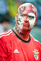 A supporter of Benfica with a face painting during the UEFA Europa League Final between Sevilla FC and SL Benfica at Juventus Arena on May 14, 2014 in Turin, Italy. Photo: Adamo Di Loreto/BuenaVista*photo