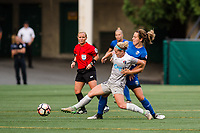 Seattle, WA - Sunday, August 13, 2017: Karen Abt, Rachel Corsie during a regular season National Women's Soccer League (NWSL) match between the Seattle Reign FC and the North Carolina Courage at Memorial Stadium.