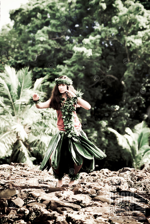 Young hula dancer in ti leaf skirt at Hawaiian heiau (temple site) performing a hula with maile lei