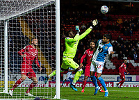 Nottingham Forest's goalkeeper Brice Samba saves under pressure from Blackburn Rovers' Dominic Samuel (right) <br /> <br /> Photographer Andrew Kearns/CameraSport<br /> <br /> The EFL Sky Bet Championship - Blackburn Rovers v Nottingham Forest - Tuesday 1st October 2019  - Ewood Park - Blackburn<br /> <br /> World Copyright © 2019 CameraSport. All rights reserved. 43 Linden Ave. Countesthorpe. Leicester. England. LE8 5PG - Tel: +44 (0) 116 277 4147 - admin@camerasport.com - www.camerasport.com