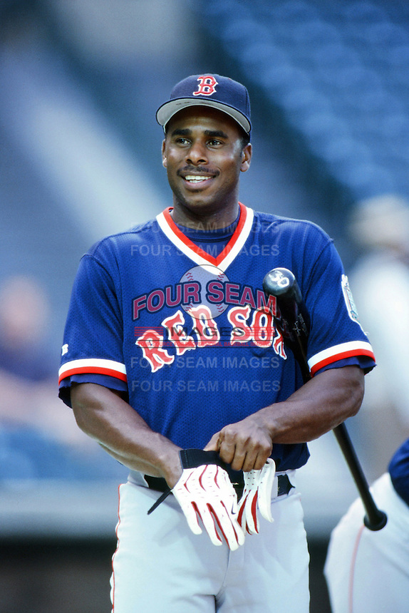 Jose Offerman of the Boston Red Sox before a 1999 Major League Baseball season game against the Anaheim Angels in Anaheim, California. (Larry Goren/Four Seam Images)