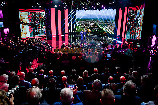 Route presentation for the 103rd edition of the Giro d'Italia 2020 held in the RAI Studios, Milan, Italy. <br /> 24th October 2019.<br /> Picture: LaPresse/Claudio Furlan | Cyclefile<br /> <br /> All photos usage must carry mandatory copyright credit (© Cyclefile | LaPresse/Claudio Furlan)