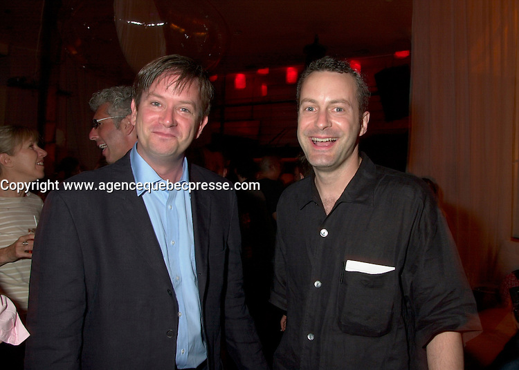 June 4 2002, Montreal, Quebec, Canada<br /> <br /> Humorist Mark Mckinney (L)  and<br /> Bruce Hills, CEO, Just For Laugh Division - Just For Laugh Festival, (R)<br /> enjoy a party at ilume club, in Montreal, JUne 4, 2002 after the opening of McKinney's play ; Fully Committed.<br /> <br /> Formelly of The Kids In The Hall Canadian TV show, McKinney now based in New York, plays in movies and TV series such as DICE, Brain Candy, ... as well as doing comedy and theater.<br /> <br /> Mandatory Credit: Photo by Pierre Roussel- Images Distribution. (&copy;) Copyright 2002 by Pierre Roussel <br /> <br /> NOTE :l Nikon D-1 jpeg opened with Qimage icc profile, saved in Adobe 1998 RGB.