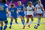 ORLANDO, FL - DECEMBER 03: Anika Rodriguez #8 of UCLA and Tegan McGrady #9 of Stanford University battle for the ball during the Division I Women's Soccer Championship held at Orlando City SC Stadium on December 3, 2017 in Orlando, Florida. Stanford defeated UCLA 3-2 for the national title. (Photo by Jamie Schwaberow/NCAA Photos via Getty Images)